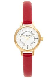 Olivia Burton Colour Crush Watch - Gold & Red Patent