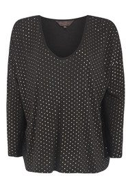 Great Plains Foiled Again Long Sleeved Top - Black & Gold