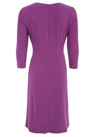 ADRIANNAPAPELL Asymmetric 3/4 Sleeve Ruched Dress - Violet