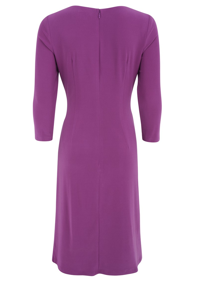 Asymmetric 3/4 Sleeve Ruched Dress - Violet   main image