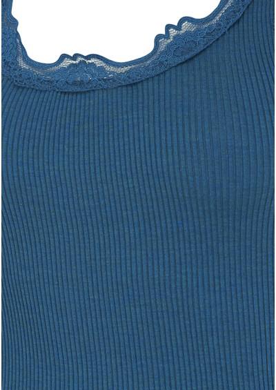 Rosemunde Silk Blend Wide Lace Vest - Petrol Melange main image