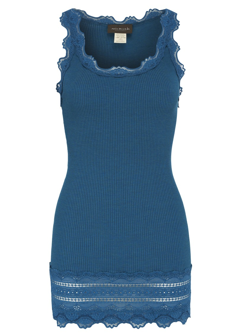 Silk Blend Wide Lace Vest - Petrol Melange main image
