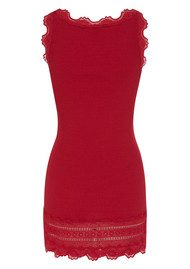 Rosemunde Silk Blend Wide Lace Vest - Coral Red
