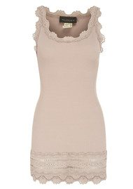 Rosemunde Silk Blend Wide Lace Vest - Vintage Powder