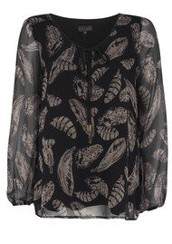 Hale Bob Behati Feather Print Top - Black