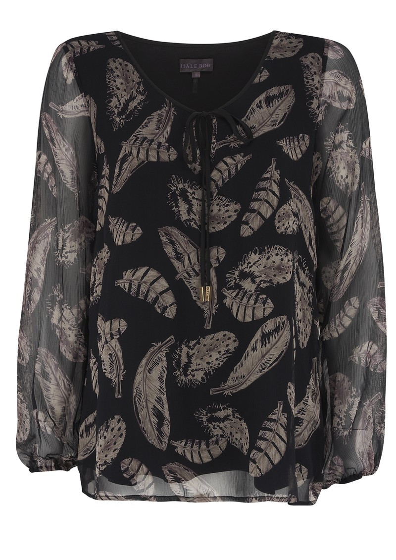 Behati Feather Print Top - Black main image