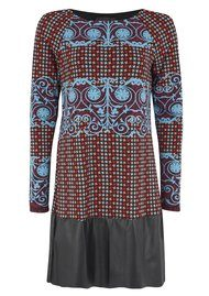 Hale Bob Printed Faux Leather Effect Dress - Teal