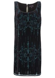 Hale Bob Velvet Embellished Dress - Emerald