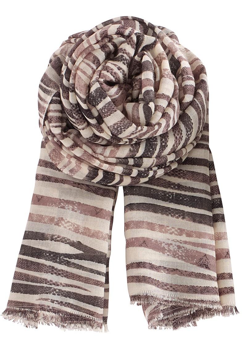 Becksondergaard G Striped Snake Silk & Wool Mix Scarf - Smokey main image