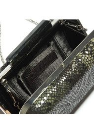 Great Plains Nagini Mock Snakeskin Clutch - Black