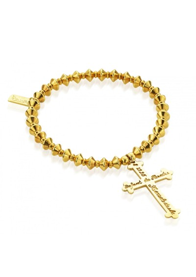 ChloBo Lucky 13 Gold Bicone Bracelet with Inscribed Cross - Gold main image