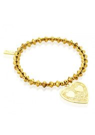 ChloBo Lucky 13 Gold Bicone Bracelet with Decorated Heart - Gold