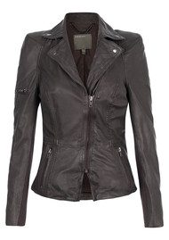 Muubaa Lyra Biker Leather Jacket - Slate Grey
