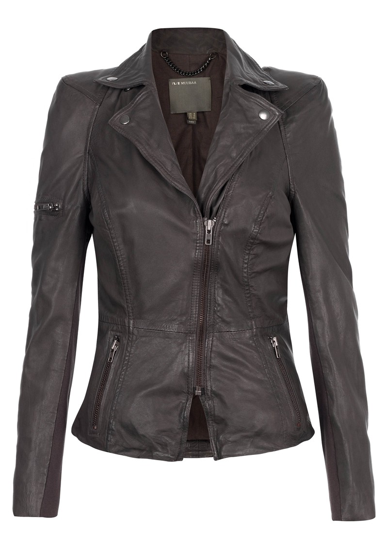 Muubaa Lyra Biker Leather Jacket - Slate Grey main image