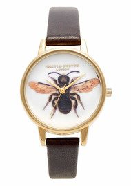 Olivia Burton Woodland Bee Watch - Chocolate & Gold