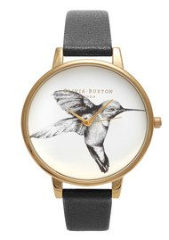 Olivia Burton Hummingbird Motif Watch - Black & Gold