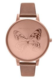 Olivia Burton Animal Motif Applied Butterfly - Brown & Rose Gold