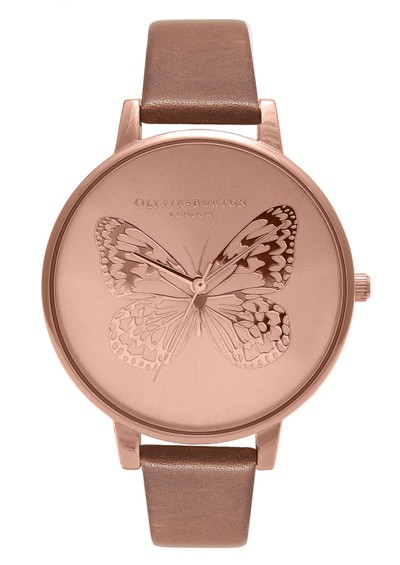 Olivia Burton Animal Motif Applied Butterfly - Brown & Rose Gold main image