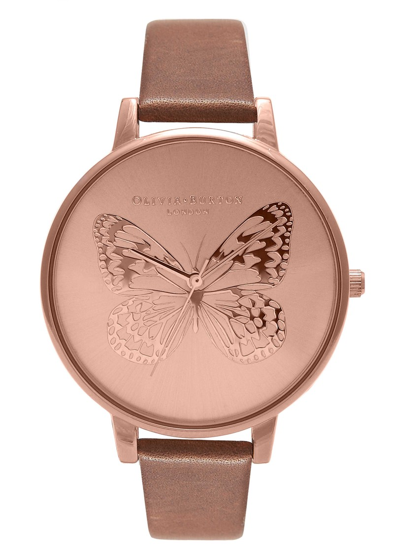 Animal Motif Applied Butterfly - Brown & Rose Gold main image