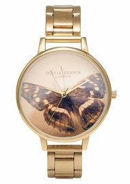Olivia Burton Woodland Butterfly Bracelet Watch -  Brown & Gold