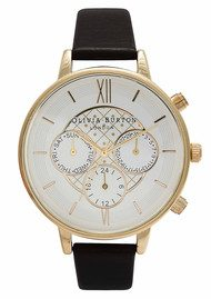 Olivia Burton Big Dial Chrono Detail Watch - Black & Gold