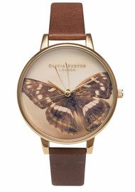 Olivia Burton Woodland Butterfly Watch - Brown
