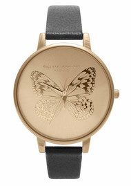 Olivia Burton Animal Motif Applied Butterfly - Black & Gold