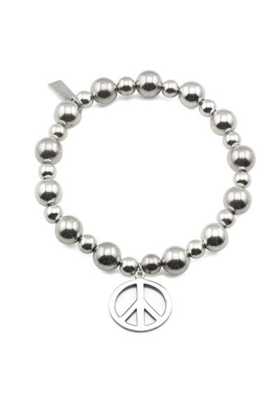 ChloBo Mini Medium Ball Bracelet with Peace Charm - Silver main image
