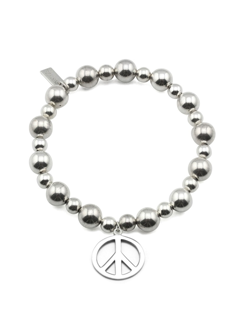 Mini Medium Ball Bracelet with Peace Charm - Silver main image