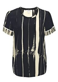 Farhi Stripe Silk Tee - Nude & Black