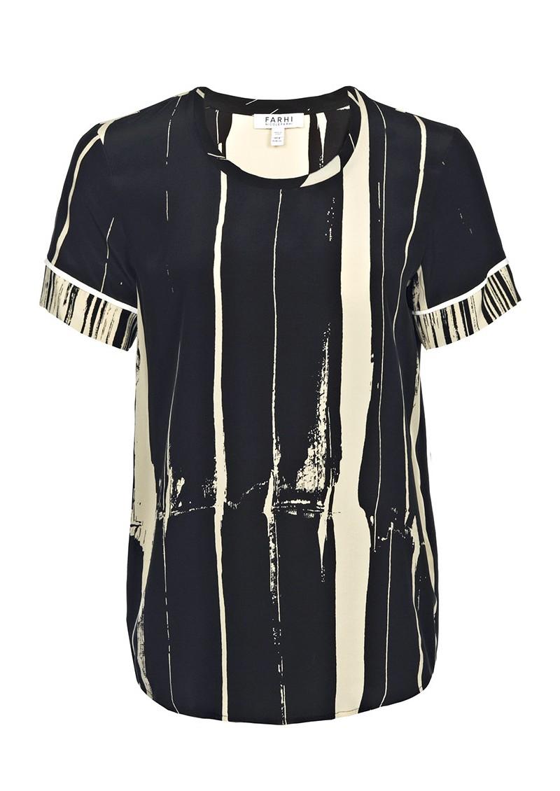 Farhi Stripe Silk Tee - Nude & Black main image