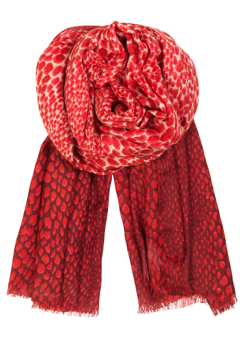 H Leo Dip Wool & Silk Blend Scarf - Electric Coral  main image