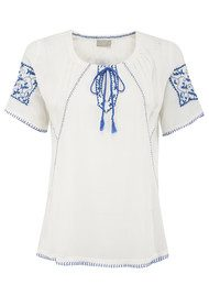 Pyrus Boho Peasant Top - Salt & Blue