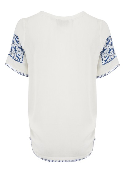 Pyrus Boho Peasant Top - Salt & Blue main image