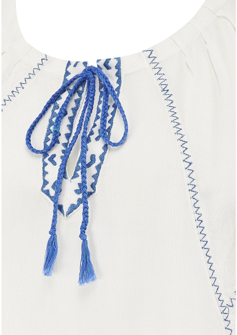 Boho Peasant Top - Salt & Blue main image