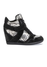 Ash Bisou Ter Wedge Trainers - Black & Roccia