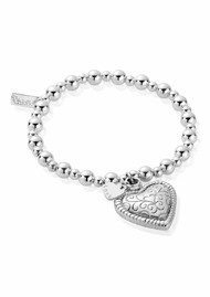 ChloBo Mini Small Ball Scallop Heart Bracelet - Silver