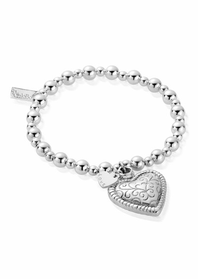 ChloBo Mini Small Ball Scallop Heart Bracelet - Silver  main image