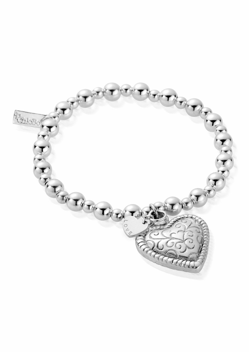 Mini Small Ball Scallop Heart Bracelet - Silver  main image