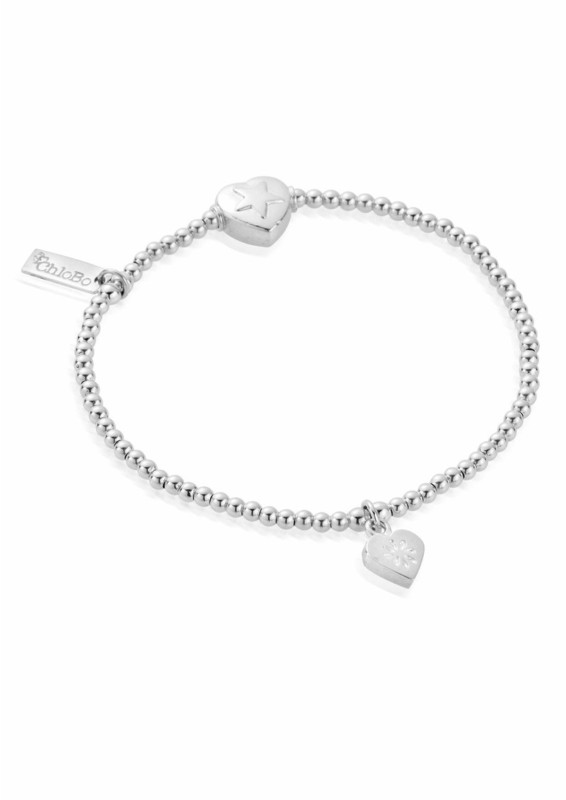 Cute Star and Flower Heart Charm Bracelet - Silver main image