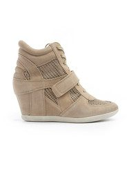 Ash Bowie Mesh Canvas Wedge Trainers - Chamois