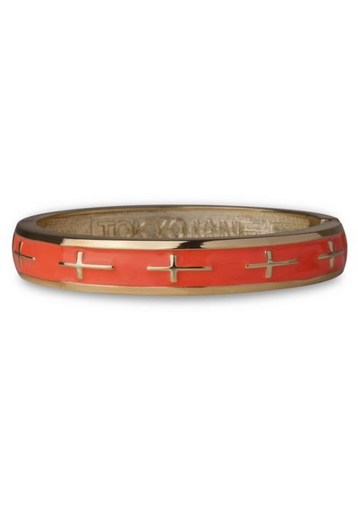 Tokyo Jane Cross Bangle - Coral & Gold main image