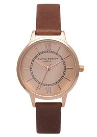 Olivia Burton Wonderland Watch - Brown & Rose Gold