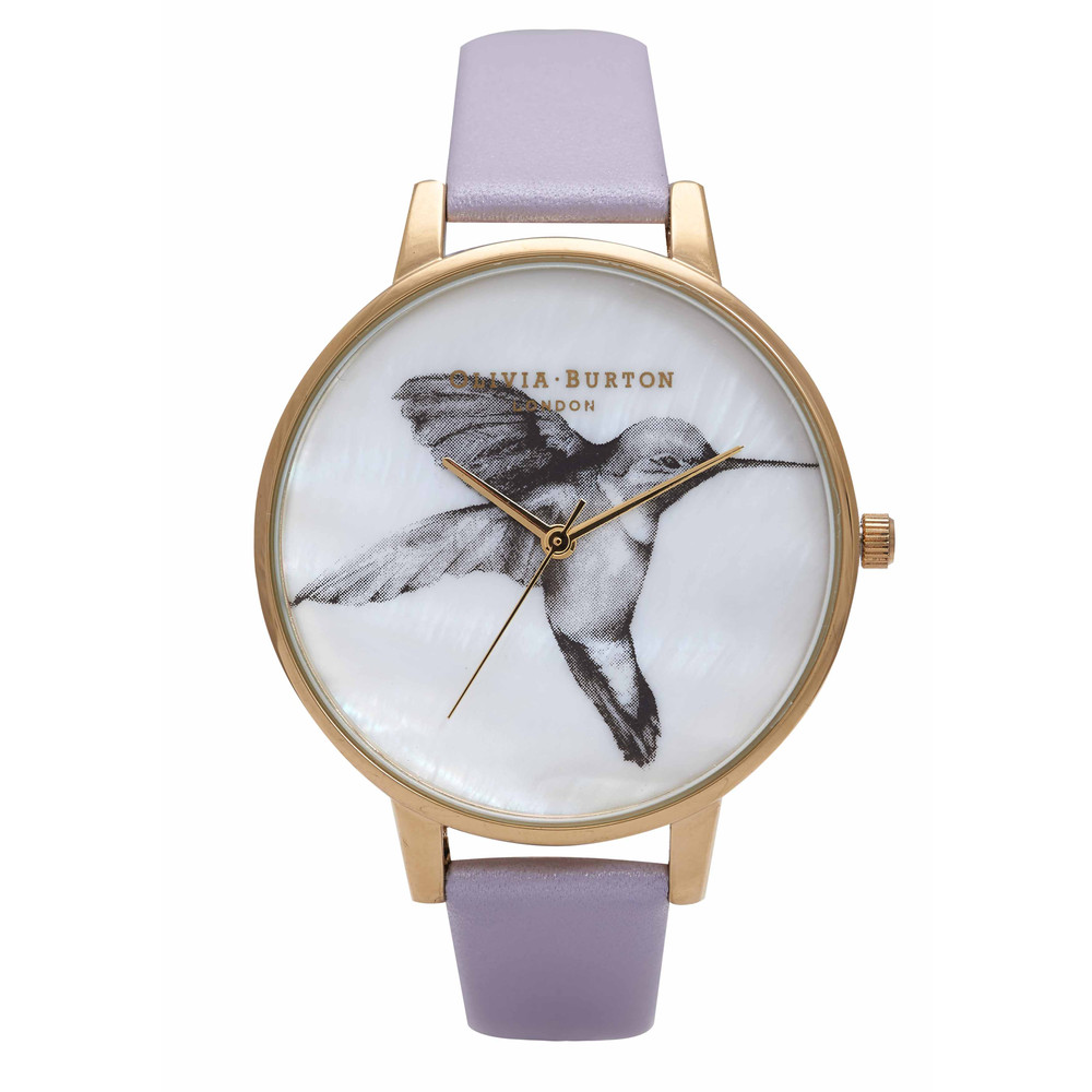 Animal Motif Mother Of Pearl Hummingbird Watch  Lilac & Gold