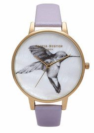 Olivia Burton Animal Motif Mother Of Pearl Hummingbird Watch - Lilac & Gold
