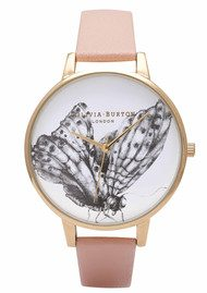 Olivia Burton Animal Motif Butterfly Watch - Dusty Pink & Gold