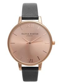 Olivia Burton Big Dial Watch - Black & Rose Gold