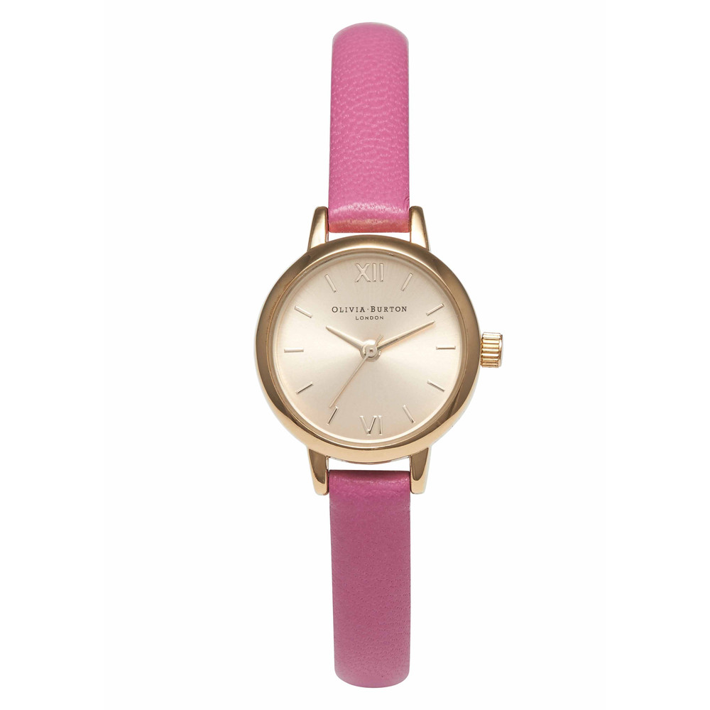 Mini Dial Watch  Hot Pink & Gold