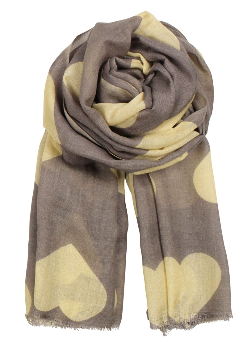 Becksondergaard H Wollen Big Hearts Silk & Wool Scarf - Lemon Curd main image