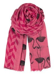 Becksondergaard H Flamingo Silk & Wool Scarf - Electric Coral